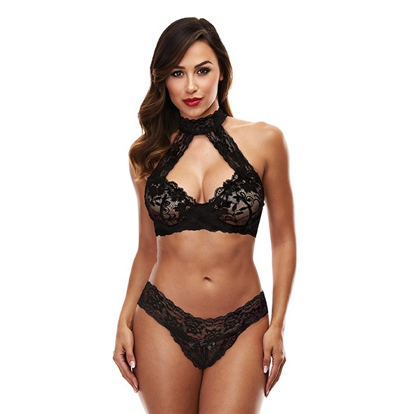 Baci - Lace Halter Bikini Set Black M/L
